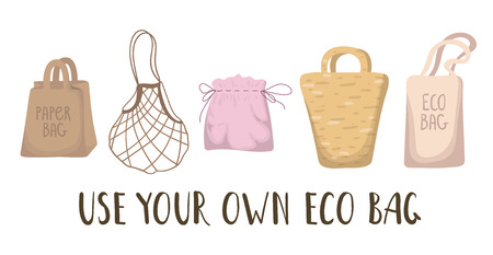 Ecological concept - eco textile bags and papackages, lettering. Ecological problem of plastic trash and pollution of the planet, the oceans. Environmental Protection. Vector flat image. Illusztráció