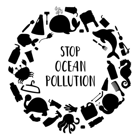 Black sea animals silhouettes and plastic trash (bottles, bags, cups) and lettering on white background. Round frame. Ecological concept, ocean pollution, environmental protection, saving the planet