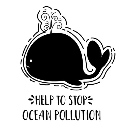Ecology concept, poster with black whales silhouette and lettering (oceans pollution) on white background, saving the oceans, flat image