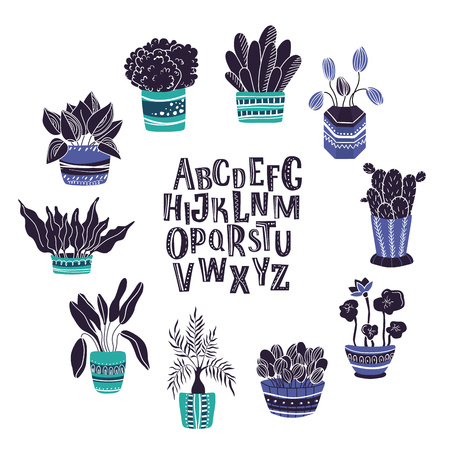 Round frame of home plants, flowers in pots, garden or greenhouse, with hand written alphabet, isolated elements on white. Flat style, Scandinavian.