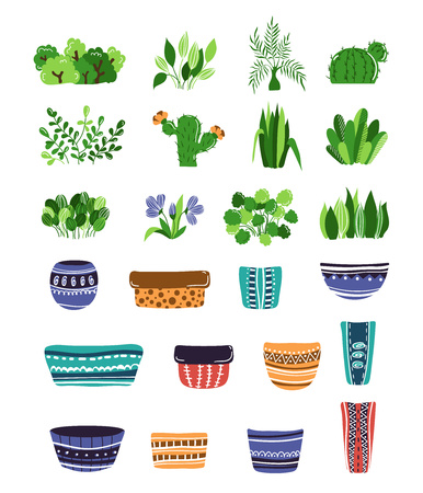 set of home plants or flowers and pots, plants constructor, home garden or greenhouse, isolated elements on white. Flat style, Scandinavian. Illustration