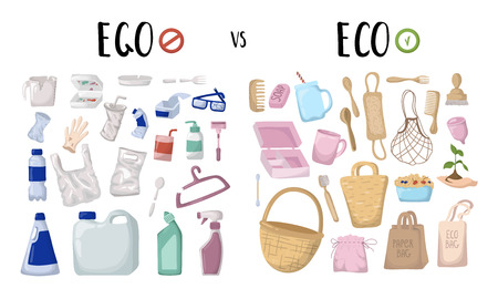 set of elements. Zero waste concept - eco versus ego. Ecological problem of plastic trash and pollution. Reusable eco friendly materials - bamboo, textile, wood, versus plastic things. Flat