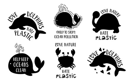 Ecology concept, posters or cards with black sea animals silhouettes and lettering (love nature, hate plastic, stop pollution) on white background, saving the oceans Ilustração