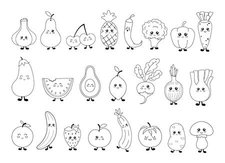 Ensemble d'images en noir et blanc de fruits et légumes kawaii mignons. Contour noir sur fond blanc, ligne, objets isolés, éléments de conception. Personnages amusants pour les enfants, illustration