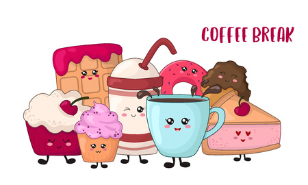 Cartoon kawaii food for coffee break - chocolate cookies, cake, donut, waffle, coffee or tea on white background. Desserts, sweets and text, cute characters. Card, poster template. Vector flat