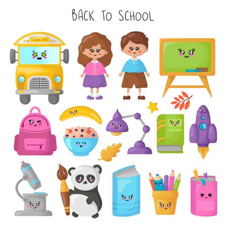 Conjunto de útiles escolares kawaii, concepto de regreso a la escuela, personajes de dibujos animados lindos: niños, panda, autobús amarillo, libro, lápices, mochila. Ilustración plana de vector para niños Ilustración de vector