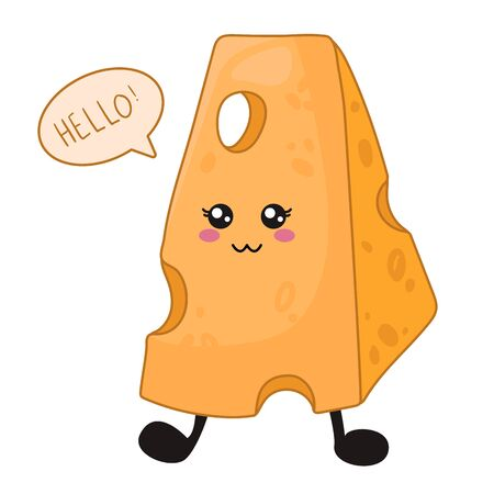 Cartoon kawaii food -  funny piece of cheese says hello - isolated on white background, card template with cute smiling character. Vector flat illustration