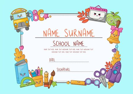 Kawaii cartoon diploma for elementary school. Template with frame of cute school supplies - characters or objects and symbols on blue background - Vector