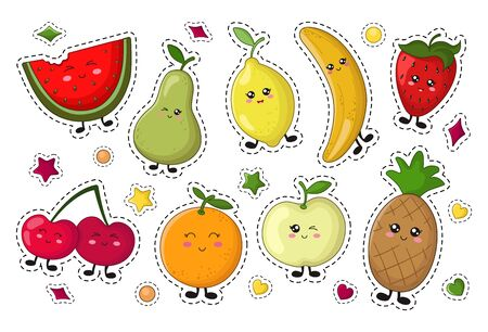Set of kawaii sticker or patch with food - lemon fruit, apple, pineapple, orange, berry. Isolated elements on white background, flat style. Cute characters, vector illustration