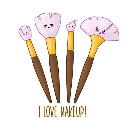 Cute card template with kawaii makeup brushes, woman stuff or girls accessory concept, cartoon characters in manga style, vector flat illustration