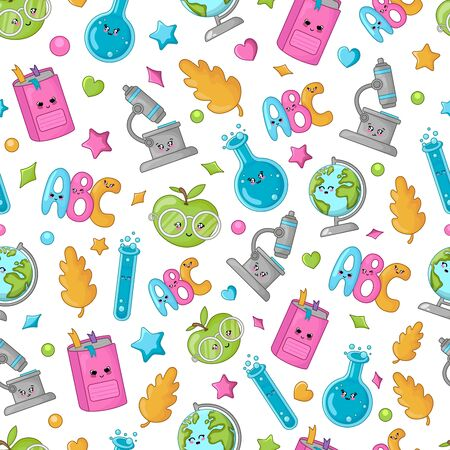 Seamless pattern with back to school concept, kawaii cute cartoon characters - textbook, alphabet, flask, globe. Childrens vector flat background of education.