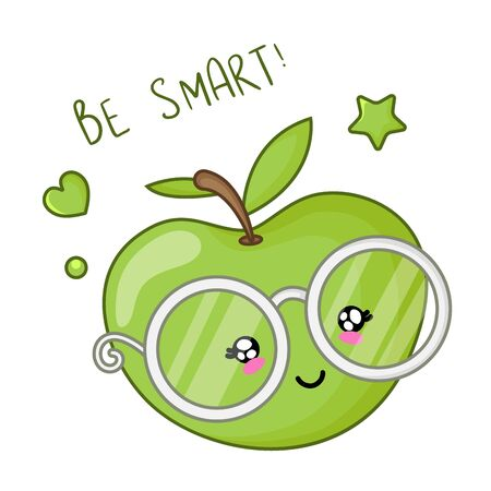 Kawaii card template with cartoon green apple in glasses, back to school and learning concept, cute character on white background. Childrens vector flat illustration of education Foto de archivo - 129718737