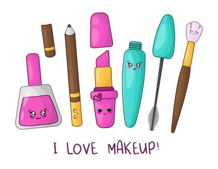 Cute cartoon set with kawaii cosmetics - nail polish, lipstick, mascara, eyebrow pencil, makeup brush, woman stuff or girls accessory concept, vector flat illustration