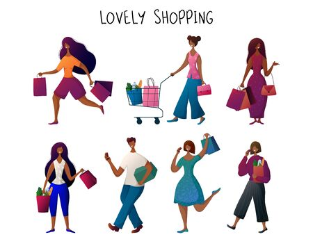 African American, black  man and woman, with bags doing shopping. People carries shopping bags, seasonal sale in shop, market, store.