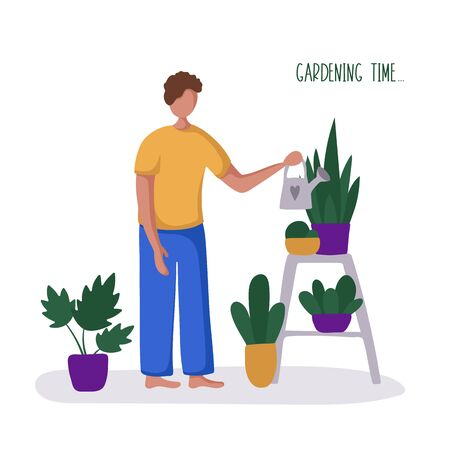 Young guy or man and his hobby or daily activity - floriculture, gardening, watering potted home plants. Cute male character in greenhouse, flat style, vector illustration