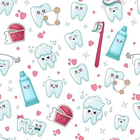 Seamless pattern - kawaii tooth, dental floss, toothpaste, toothbrush  with different emodji, cartoon characters - treatment and oral hygiene, dental care concept. Vector flat illustration