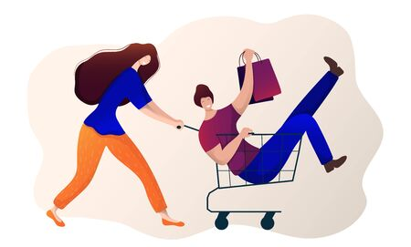Young girl and guy doing shopping, have fun. Female with shopping cart, guy with bags sits in cart. Sale in shop, market, store. Cartoon  characters on white background. Vector, flat style.