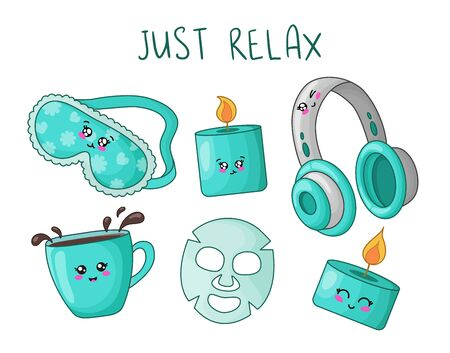 cartoon set with kawaii cute things for rest and relaxation - sleep mask, aroma candle, headphones, moisturizing face mask and cup of tea, spa and womens or girls accessories, cosmetics, vector flat Illustration