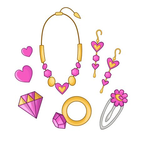 Cute cartoon set with kawaii with fashionable girls accessories - necklace or pendant, gold ring, earrings, barrette, crystal  - woman stuff or girls fashion things, vector flat Illustration