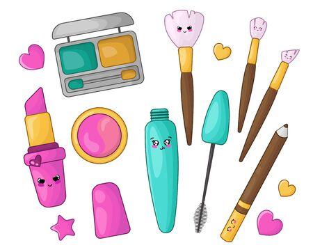 Cute cartoon set with kawaii cosmetics for makeup  - lipstick, eye shadow, blush, eyeliner, makeup brush, mascara, woman stuff or girls fashion things, vector flat