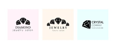 Set of Logo for a jewelry company or store with black crystal or diamond on white, precious stone, gem and text - company name - vector illustration for cards, business identity