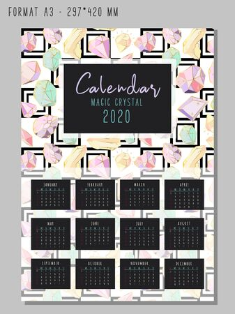 Calendar or planner for 2020 with colored geometric crystals or gems, jewelry diamonds and precious stones. Illustration