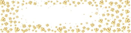 Golden crystals or gems - vector horizontal banner or flyer, background with precious stones, diamonds, quartz - for website headers or jewelry store. Illustration
