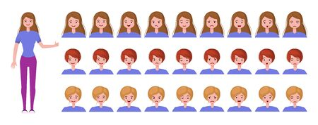 Young woman or teenager girl - cartoon character creation set, constructor. Isolated elements - full length person and portraits with different emotions (neutral, joy, anger, sadness, surprise) and haircuts. Vector flat