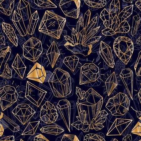 Seamless vector pattern - golden outline crystals or gems, on dark purple background, endless texture with gemstones,  diamonds