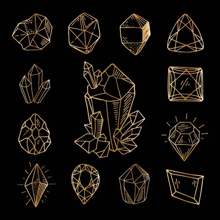 Icon vector outline set - golden line crystals or gems, on black background, symbols collection with gemstones, quartz, minerals, diamonds, hand drawn or doodle illustration