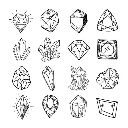 Icon vector outline set - crystals or gems, on white background, symbols collection with gemstones, quartz, minerals, diamonds