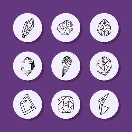Icon vector outline collection - crystals or gems, symbols set with jewelry gemstones, quarts, minerals, diamonds
