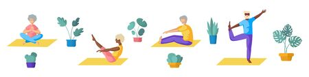 Elderly or old people - African Americans and Europeans couples - doing yoga, men and women doing sport exercises and meditation.