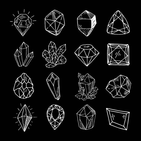 Icon vector outline set - white crystals or gems, on black background, symbols collection with gemstones, quarts, minerals, diamonds, hand drawn or doodle illustration