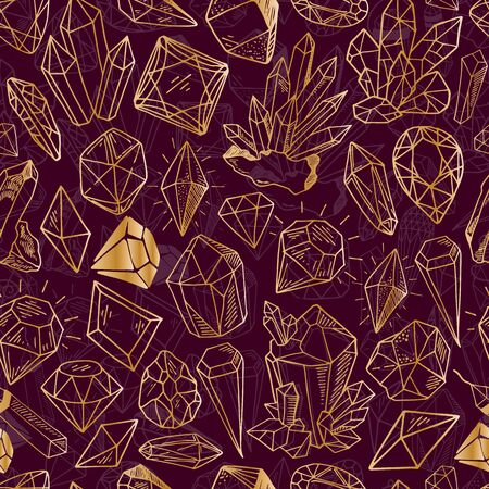 Seamless vector pattern - golden outline crystals or gems, on dark red background, endless texture with gemstones, diamonds, hand drawn or doodle illustration Illustration