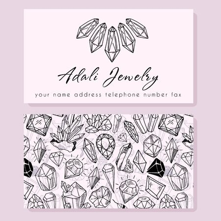 Business Identity - business card template - front side with logo - outline diamonds, crystal - necklace, text on light pink, back side with pattern - precious stones. Illustration