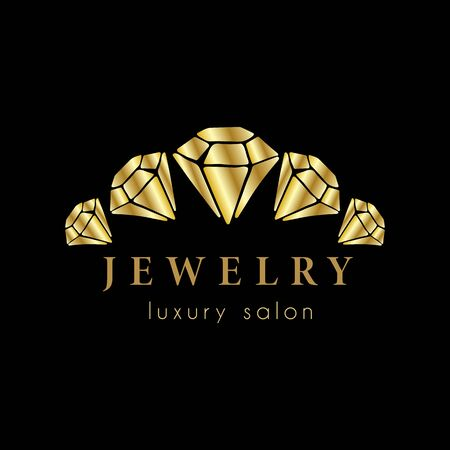Logo for a jewelry company or store with golden crystal or diamond on black, precious stone, gem and text - company name - vector illustration for cards, business identity