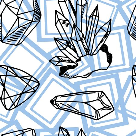 Seamless vector pattern - black outline crystals or gems, quartz  and blue geometric shapes, on white, endless texture with gemstones, diamonds Illustration