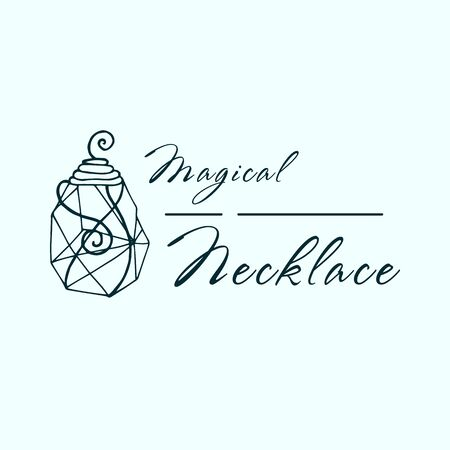 Logo for a jewelry company or store with outline crystal or diamond, precious stone, gem and text - company name - vector illustration for cards, business identity