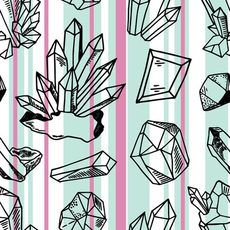 Seamless vector pattern - black outline crystals or gems, quartz  and blue and pink stripes on white, endless texture with gemstones, diamonds