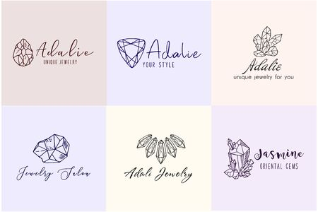 Set of Logo, business identity for a jewelry company or store with black crystal or diamond on white, precious stone, gem and text - company name - vector illustration