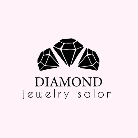 Logo for a jewelry company or store with black crystal or diamond on white, precious stone, gem and text - company name - vector illustration for cards, business identity