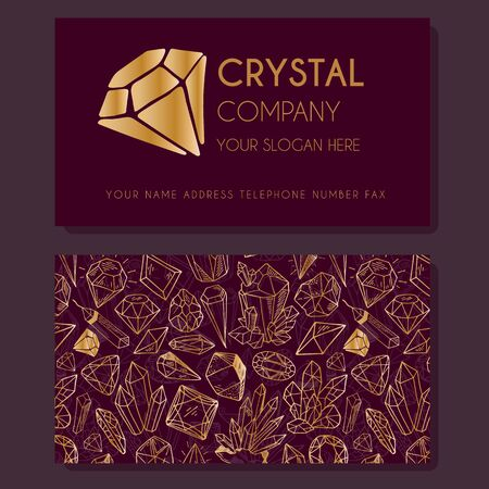Business Identity - business card template with front side with logo - golden diamond, crystal, text on dark red, and back side with pattern with precious stones. Illustration