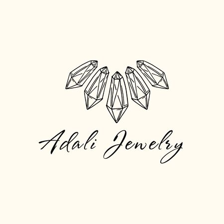Logo for a jewelry company or store with outline crystal or diamon - necklace, precious stone, gem and text - company name - vector illustration for cards, business identity