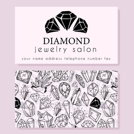 Geschäftsidentität - Visitenkartenvorlage mit Vorderseite mit Logo - schwarzer Diamant, Kristall, Text auf Hellrosa und Rückseite mit Muster mit Edelsteinen. Druckfertig, Vektor