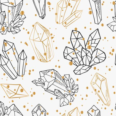 Seamless vector pattern - black and golden outline crystals or gems, on white background, endless texture with gemstones, stars, diamonds