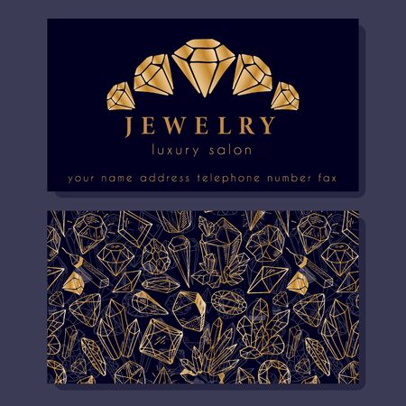 Business Identity - business card template with front side with logo -  golden diamond, crystal, text on dark blue, and back side with pattern with precious stones.