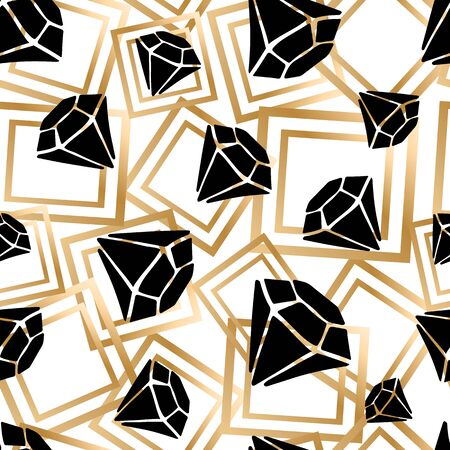 Seamless vector pattern - black diamonds, crystals or gems, on white background with golden geometric shapes, endless texture with gemstones Vectores