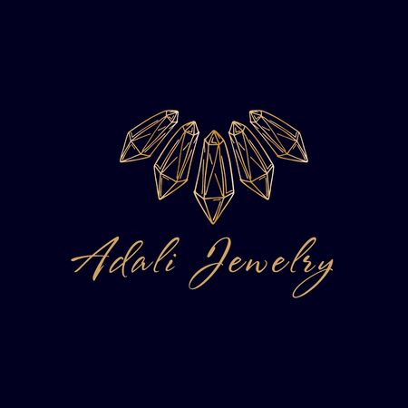 Logo for a jewelry company or store with golden crystal or diamond, necklace on dark, precious stone, gem and text - company name, business identity - vector Illustration