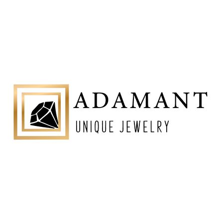 Logo, business identity for a jewelry company or store with black crystal or diamond in golden frame, precious stone, gem and text - company name - vector illustration